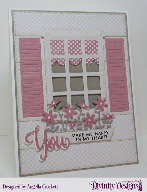 Divinity Designs LLC 'You Bless Me So' Stamp/Die Duos, Custom Dies: Welcoming Window, Window Shutter and Awning, Flower Box Fillers, Pierced Rectangles; Card Designer Angie Crockett