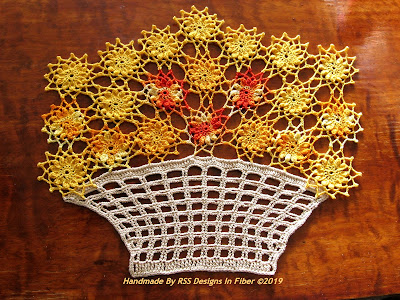 Yellow and Orange Flowers Basket Doily - Handmade By Ruth Sandra Sperling at RSS Designs In Fiber