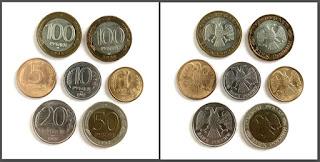 100 рублей 1992 год, 50 рублей 1992 год, 20 рублей 1992 год, 10 рублей 1992 год, 5 рублей 1992 год, 1 рубль 1992 год