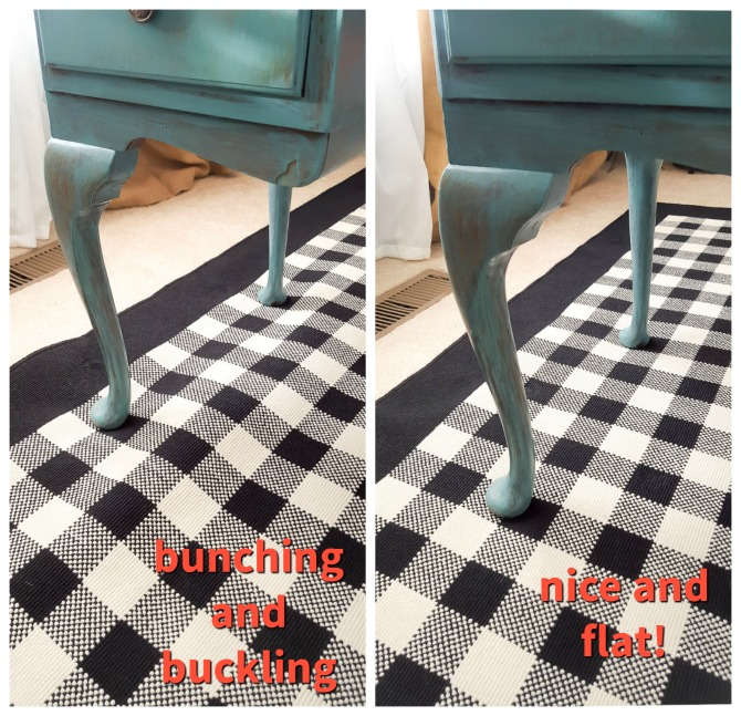 rug buckling before after