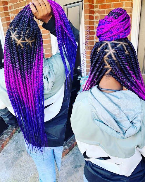 unique triangle box braids hairstyles