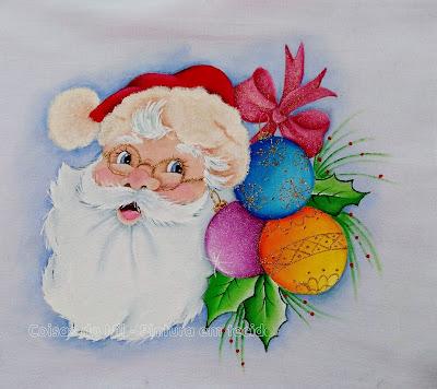 pintura tecido papai noel de óculos com bolas natalinas e laço vermelho