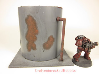 Miniature 25-28mm scale rusted vertical storage tank T577 - side view B - UniversalTerrain.com