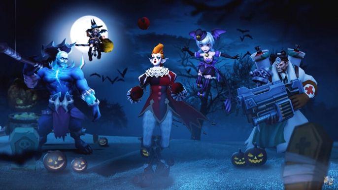 Um belo papel de parede do evento Trickster's Eve e as skins de alguns personagens