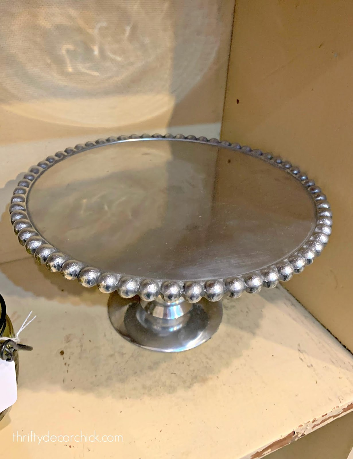 Silver hobnail cake stand
