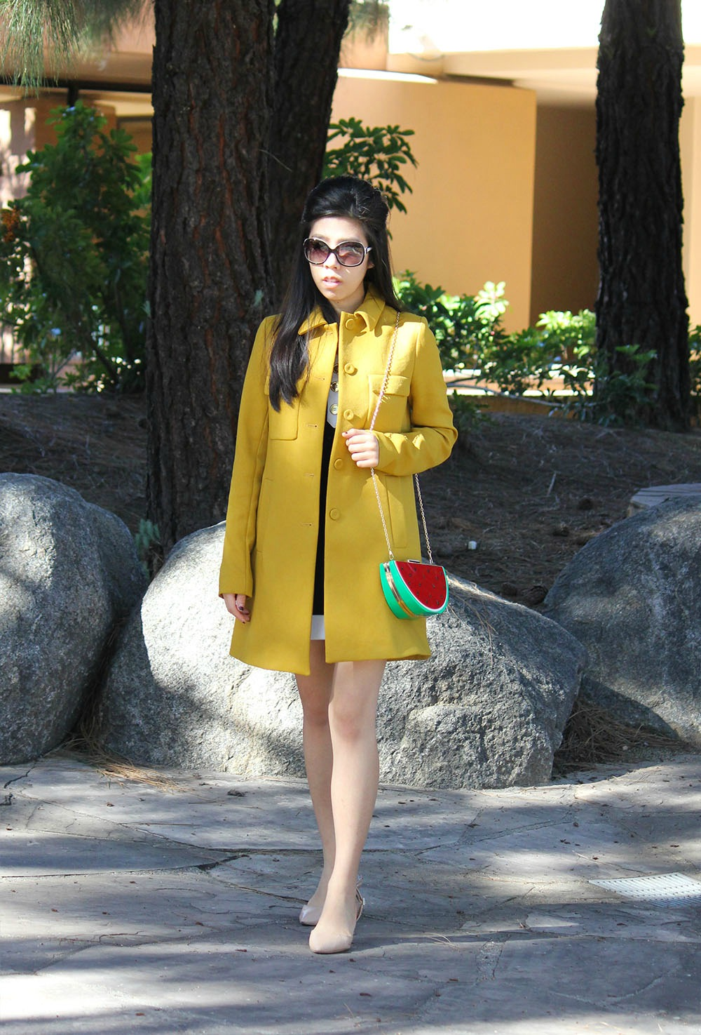 What to Wear to a picnic_What to wear with a black dress_Yellow coat and black dress without looking like a bee