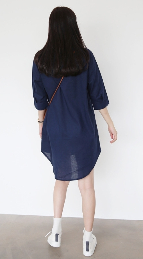 Button Tab Shirt Dress