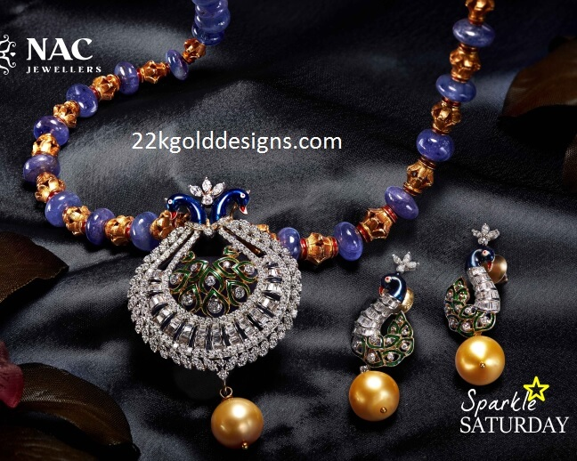 Peacock Pendant Set with Beads Chain