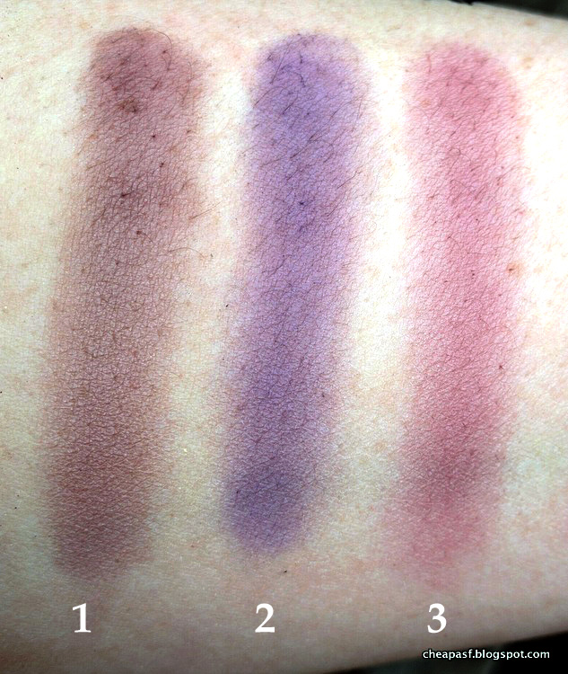 Swatches of (1) Laura Mercier Plum Smoke, (2) Makeup Geek Fairytale, and (3) Covergirl Roses Copper Rose.