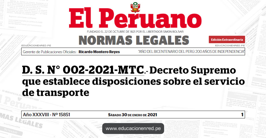 D. S. N° 002-2021-MTC.- Decreto Supremo que establece disposiciones sobre el servicio de transporte