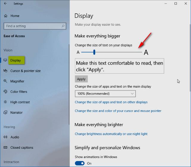 كيفية تغيير حجم النص في نظام التشغيل ويندوز Windows 10