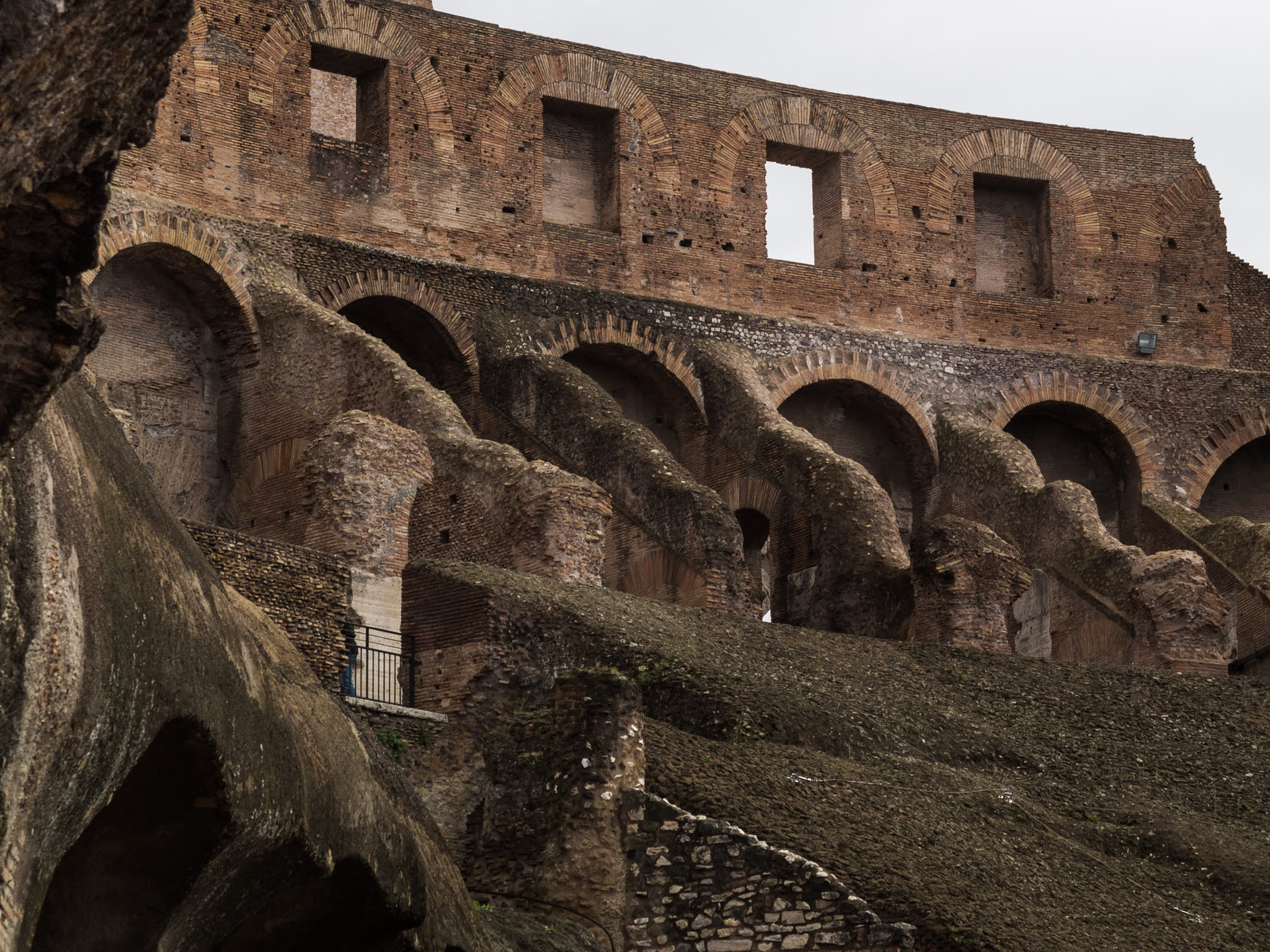 Close up of the interior walls of the Colosseum arena.