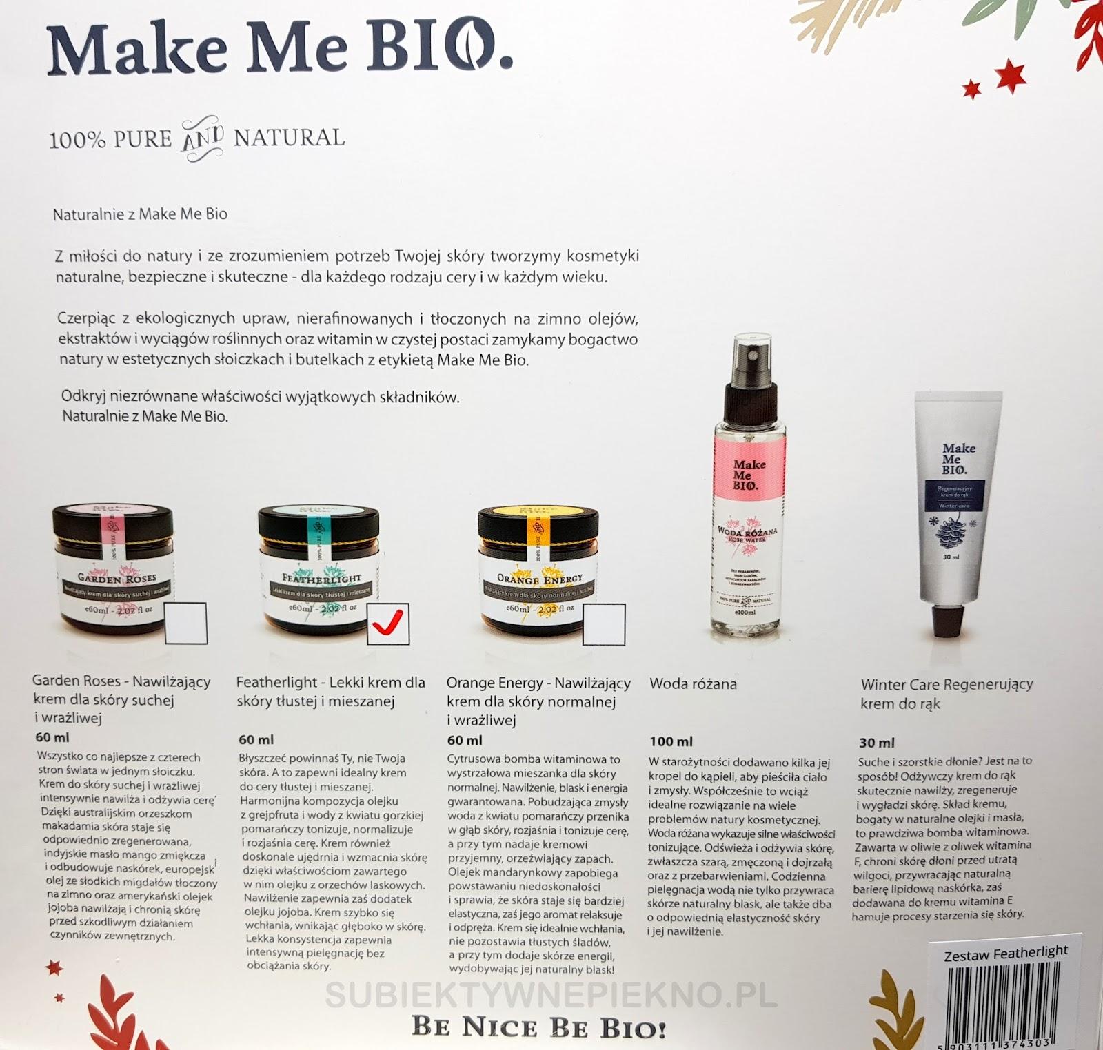 Świąteczny zestaw prezentowy Make Me Bio - krem do twarzy Featherlight, krem do rąk, woda różana