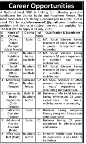 A National Level NGO Jobs 2021 For District Project Manager, District Nutrition Officer, Social Mobilization Officer, Monitoring Officer And More