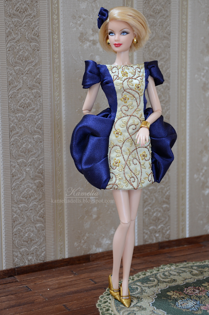 Blue and gold embroidered couture dress for Barbie doll 12""