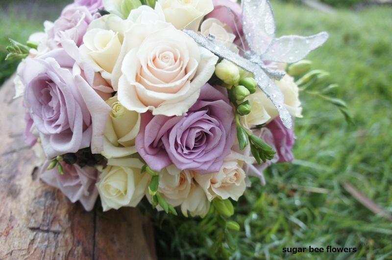 Sugar Bee Flowers: Mixed Purple And White/cream Wedding