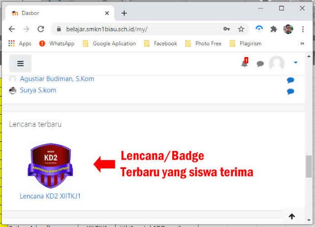 tampilan badge pada dashboard siswa