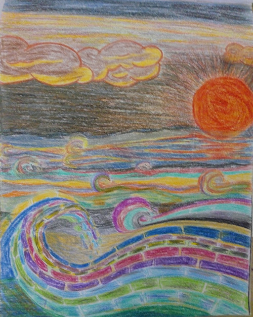 Drawing image of a seascape