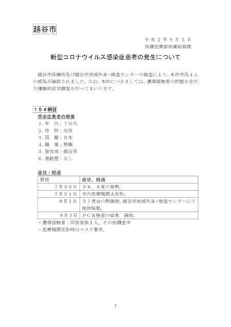 新型コロナウイルス感染症患者の発生について(8月3日発表)