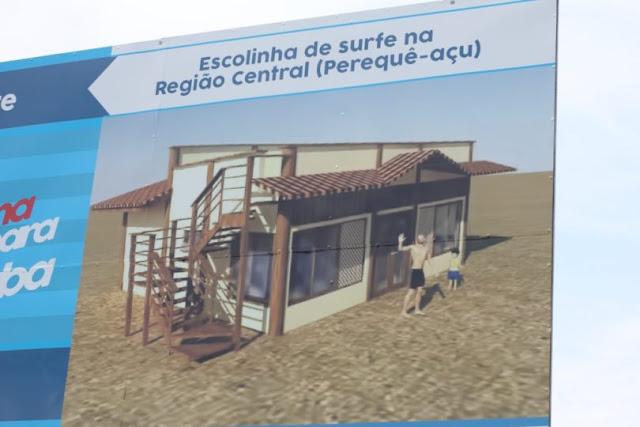 OBRA DA ESCOLINHA DE SURFE DO PEREQUE AÇU ESTÁ ATRASADA..