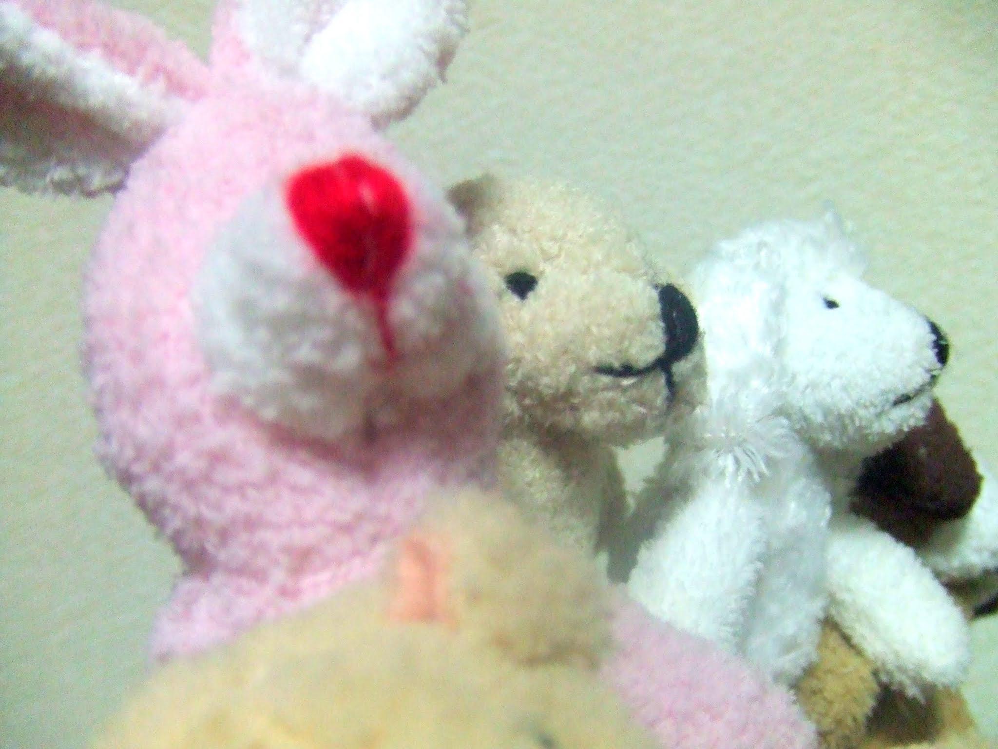 ウサギ、イヌ、ブタ、クマのぬいぐるみの指人形の写真素材です。とても仲がよくかわいい雰囲気なので、子供向けブログのブログカードなどに向いていると思います。