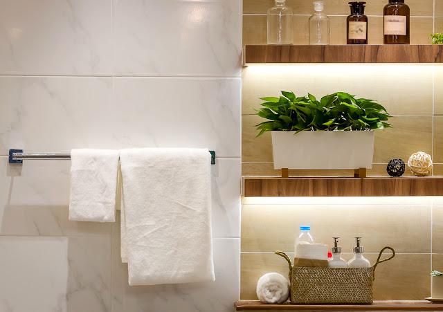 diy floating shelves and bathroom update