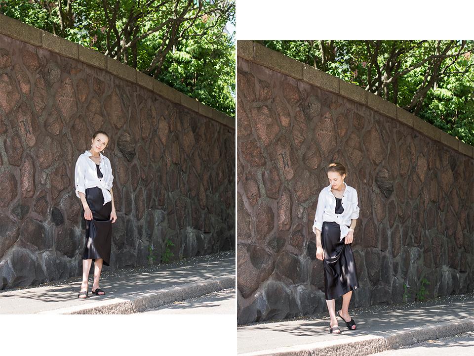 Minimal chic fashion blogger summer outfit, slip dress, linen shirt - Muotibloggaaja, kesämuoti, minimalistinen tyyli, kesämuoti, silkkimekko, pellavapaita