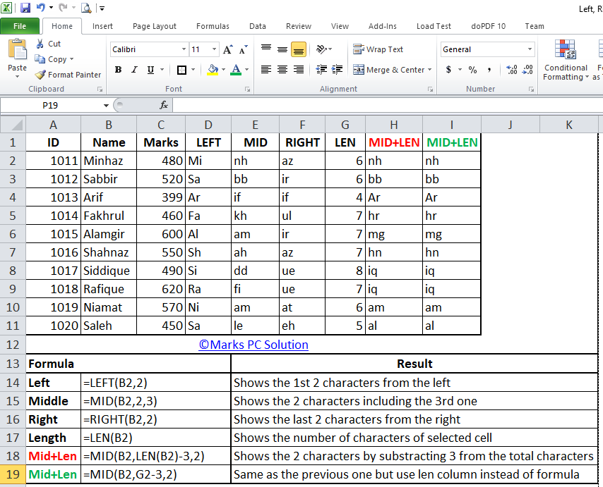 Excel sheet with left, mid, right, len functions