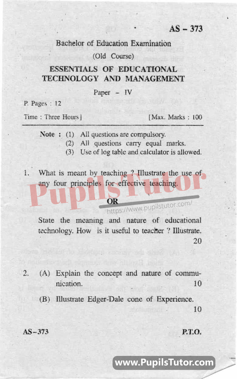 Essentials Of Educational Technology And Management Question Paper In English