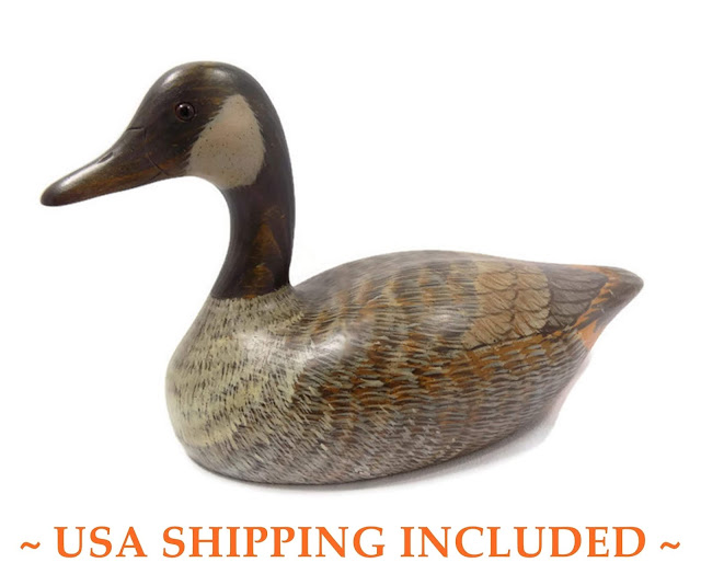 Vintage Decoy Carving, Canada Goose, William Schneck, Ramsey, NJ / Hand Made and Painted, Dated 1987