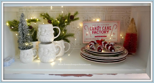 French -Farmhouse -Cottage -White -Dining -Room -Cabinet-Christmas -Vignettes-White-Santa-Mugs-From My Front Porch To Yours