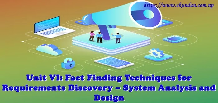 Unit VI: Fact Finding Techniques for Requirements Discovery – System Analysis and Design