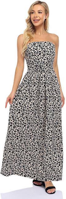 Leopard Strapless Maxi Dresses