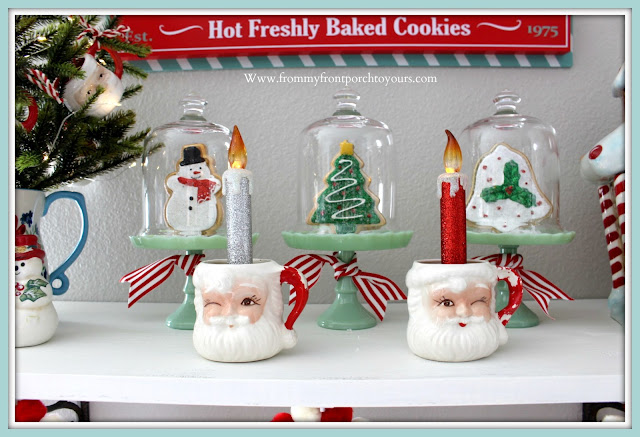 Breakfast -Nook -Christmas- Decor-Open-Shelving-Vintage-Santa-Mugs-Jadeite-Cupcake-Stands-Cottage-Farmhouse-Gingerbread-Cookies-From My Front Porch To Yours