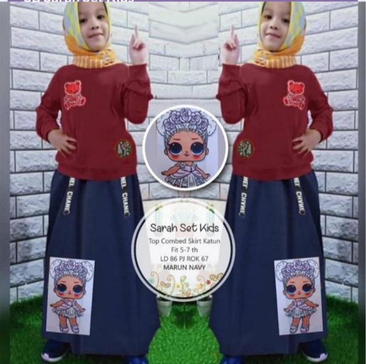 Jual Baju Setelan Muslim Anak Sarah Set Kids