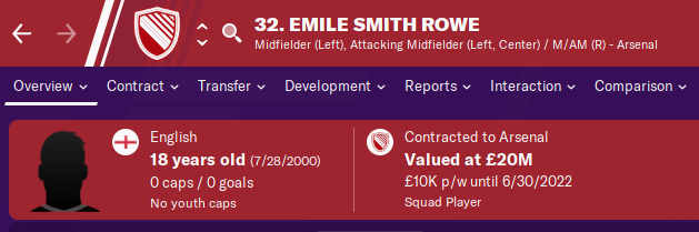 FM20 Wonderkid - Emile Smith Rowe