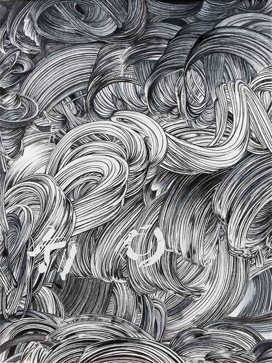 Paul McDevitt 'Kl O', 2014 charcoal on paper 214.5 x 166 cm