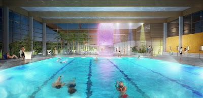 Perspective 3d centre aquatique bassin sportif nuit