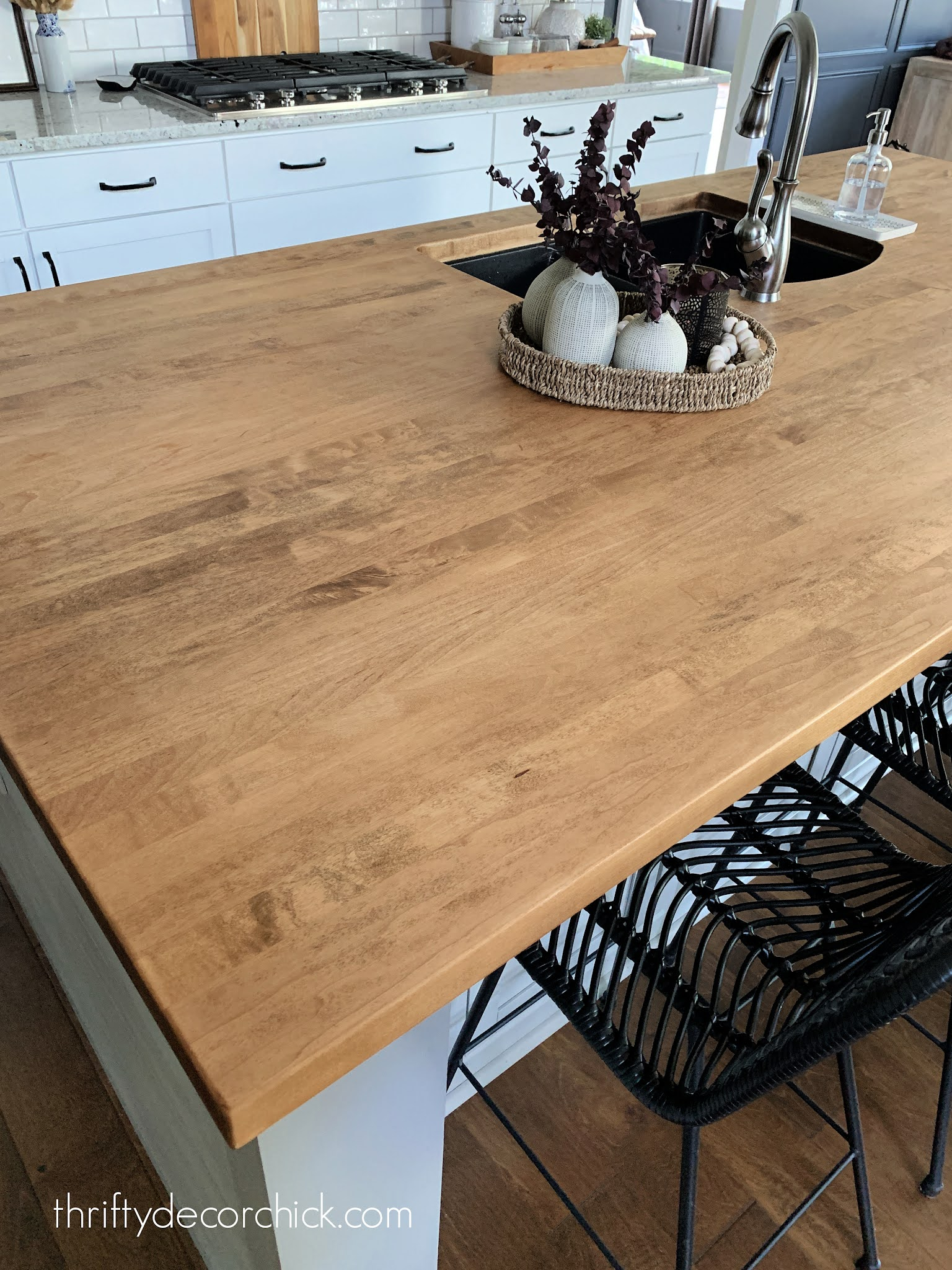 walnut stained wood counters