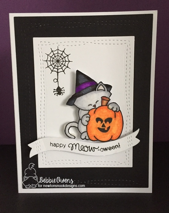 Happy meow-oween by Debbie features Newton's Perfect Pumpkin by Newton's Nook Designs; #newtonsnook