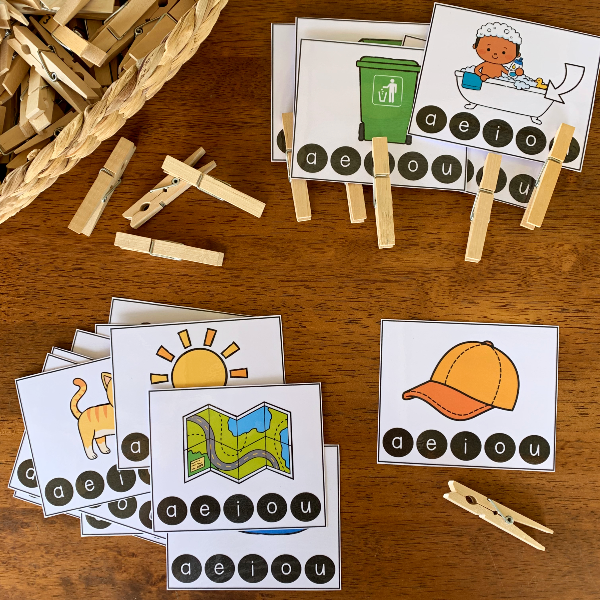 CVC Word Middle Vowel Sound Clip It Cards | you clever monkey