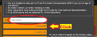 Garena Free Fire, registration page