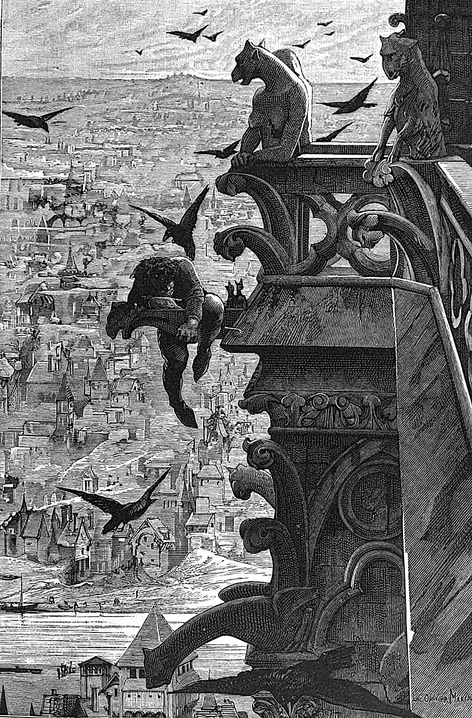 an illustration from The Hunchback of Notre Dame by Victor Hugo, the hunchback climbing