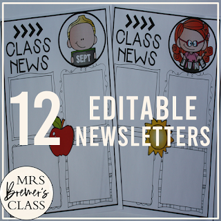 This pack includes 12 different editable class newsletters to share class news. Simply type over the text where it says 'text' to add your class news, reminders, birthdays, homework, and more. You can change the font, font size, and color to whatever you like! #classroomsetup #classnews #newslettertemplate #newsletter #classroom #backtoschool #teaching #classroomideas