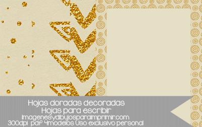 folios dorados decorados para imprimir