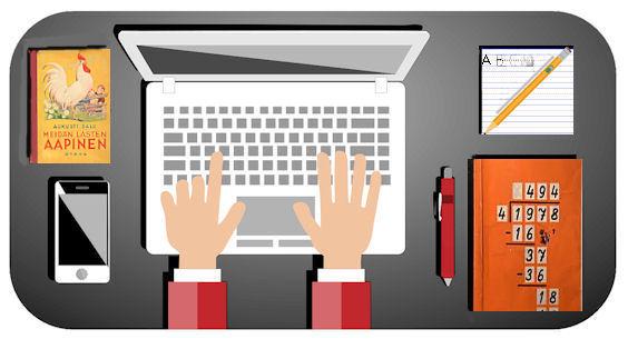 Kuviteltu kuva etäkoulun kotipulpetista: tietokone, kännykkä, aapinen, kirjoitusharjoitusvihko ja laskuopin esimerkkisivu.