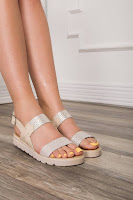 Sandale Aniss casual bej cu insertii argintii