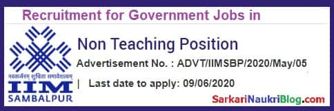 Recruitment for Non-Teaching vacancy in IIM Sambalpur 2020