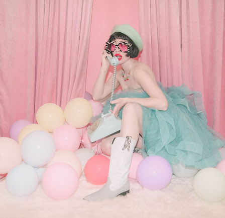 Pastel Balloons and Blue Boots