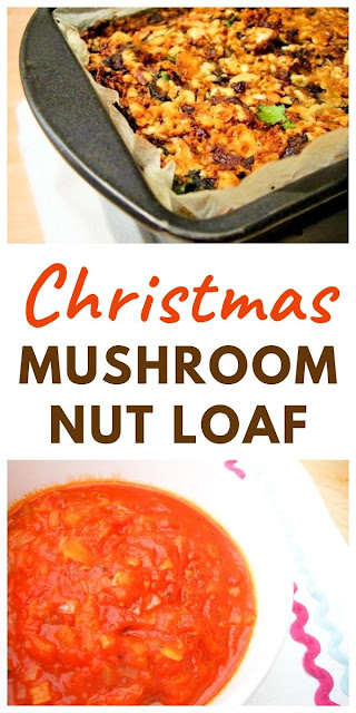 Christmas Mushroom Nut Loaf with Tomato Sauce makes a tasty vegetarian or vegan Christmas main course. It would also be good for Thanksgiving. #Christmasnutloaf #nutloaf #nutroast #Christmasmaincourse #vegetarianChristmas #veganChristmas #easyChristmasrecipes #nutroast #mushrooms #nuts